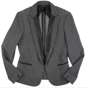 RAG & BONE Black White Tweed Leather Trim Jacket